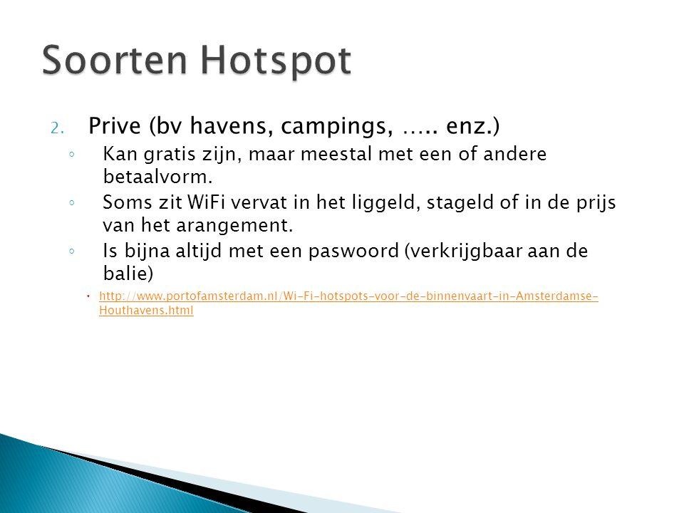 2. Prive (bv havens, campings, ….. enz.) ◦ Kan gratis zijn, maar meestal met een of andere betaalvorm. ◦ Soms zit WiFi vervat in het liggeld, stageld