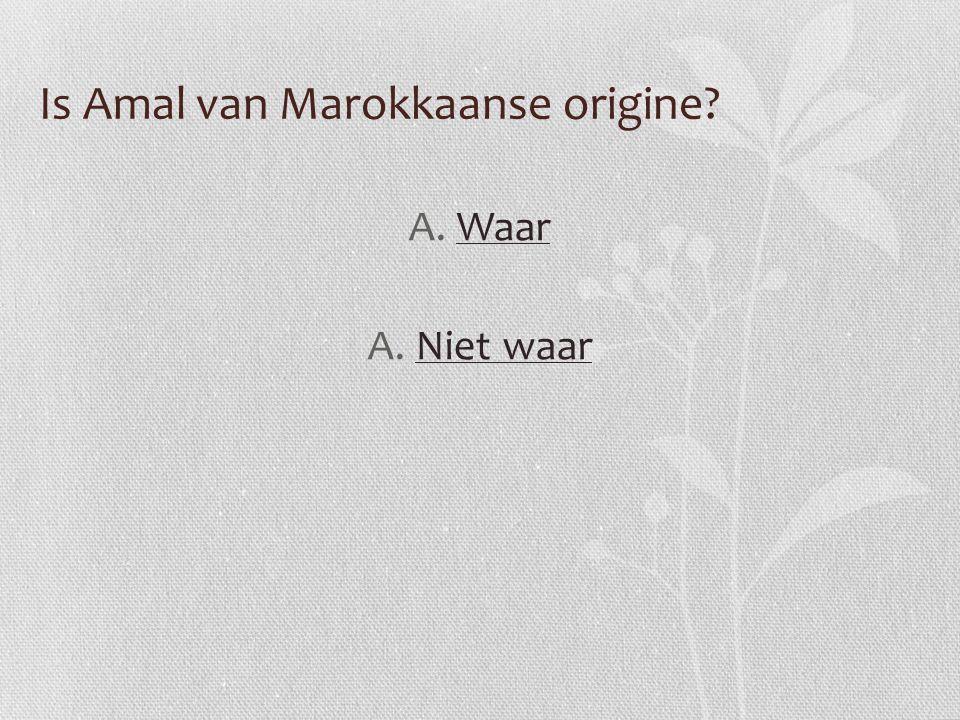 Is Amal van Marokkaanse origine? A.WaarWaar A.Niet waarNiet waar