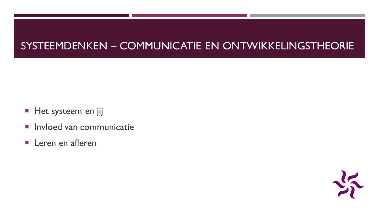 SYSTEEMDENKEN – COMMUNICATIE EN ONTWIKKELINGSTHEORIE  Het systeem en jij  Invloed van communicatie  Leren en afleren