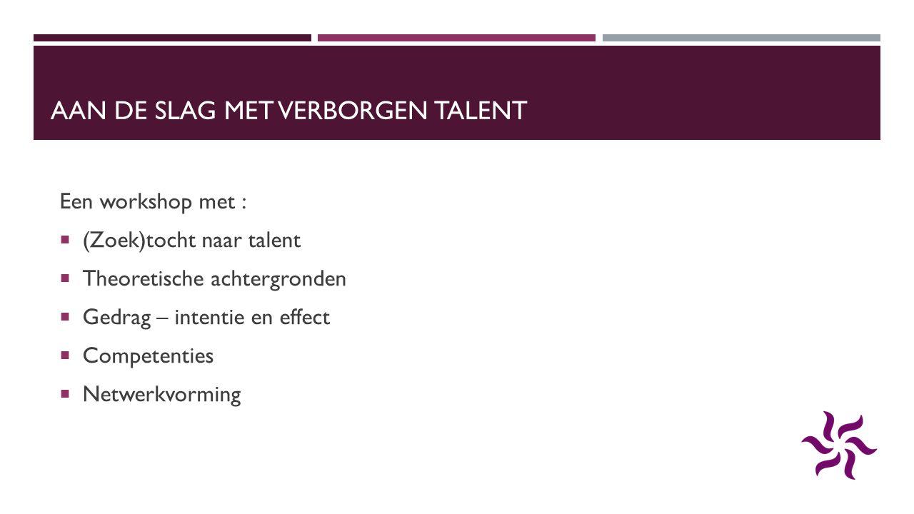 AAN DE SLAG MET VERBORGEN TALENT Een workshop met :  (Zoek)tocht naar talent  Theoretische achtergronden  Gedrag – intentie en effect  Competentie