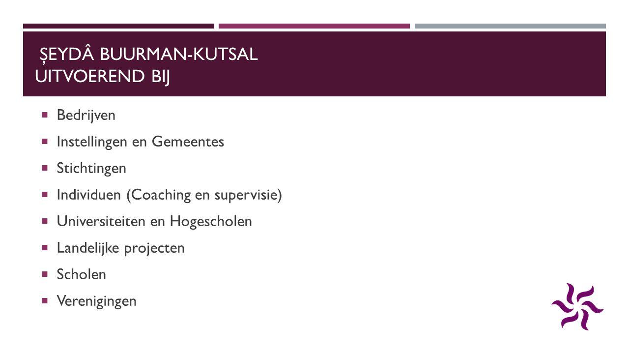 ŞEYDÂ BUURMAN-KUTSAL UITVOEREND BIJ  Bedrijven  Instellingen en Gemeentes  Stichtingen  Individuen (Coaching en supervisie)  Universiteiten en Ho