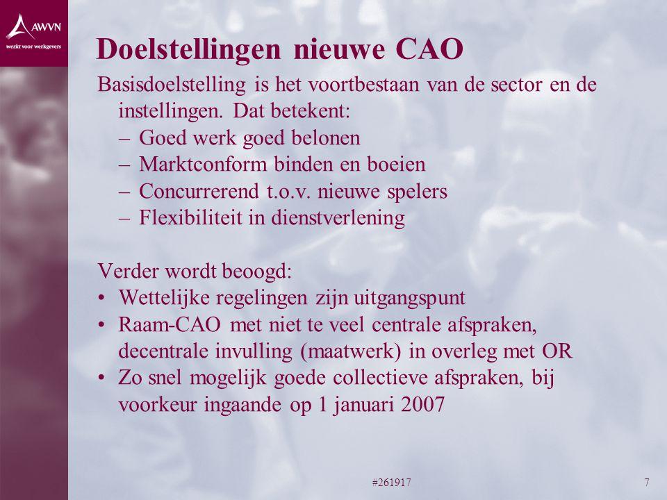 #2619177 Doelstellingen nieuwe CAO Basisdoelstelling is het voortbestaan van de sector en de instellingen.