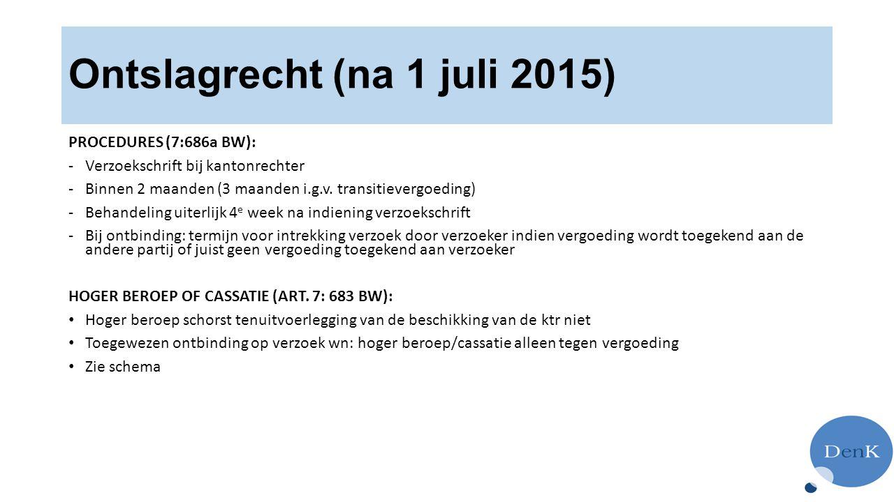 Ontslagrecht (na 1 juli 2015) PROCEDURES (7:686a BW): -Verzoekschrift bij kantonrechter -Binnen 2 maanden (3 maanden i.g.v.