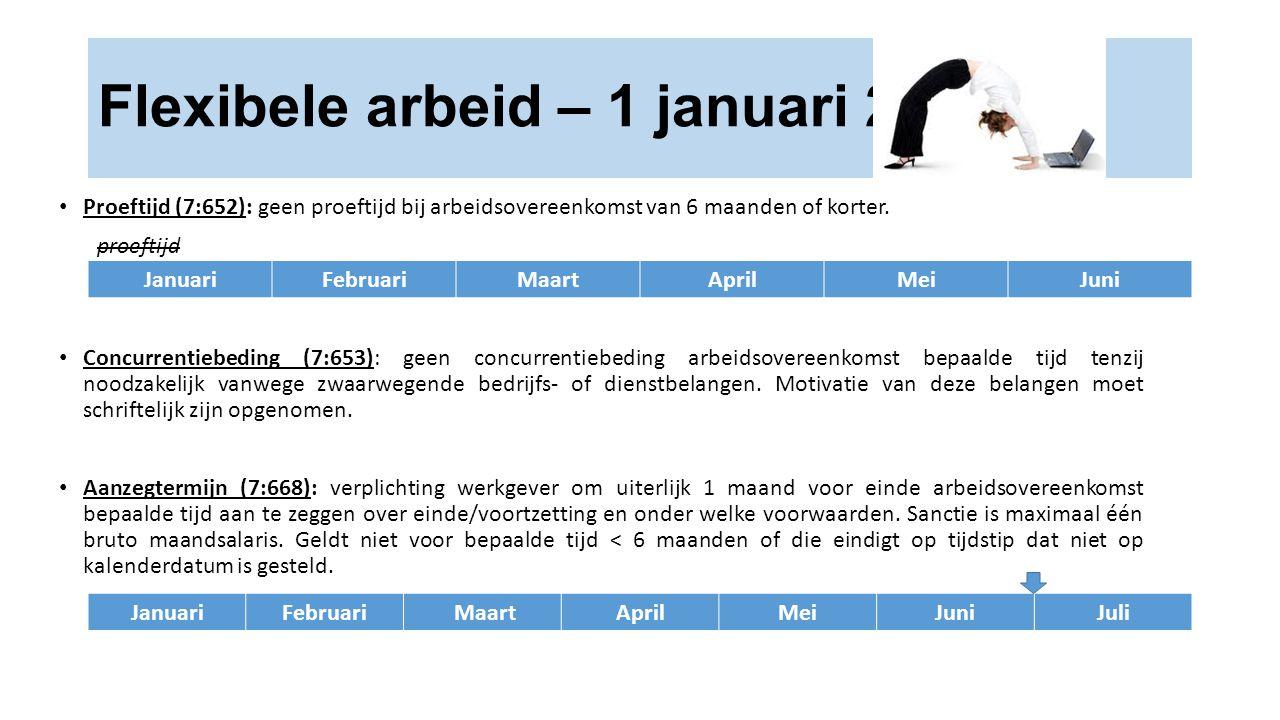 Flexibele arbeid – 1 januari 2015 JanuariFebruariMaartAprilMeiJuni Proeftijd (7:652): geen proeftijd bij arbeidsovereenkomst van 6 maanden of korter.