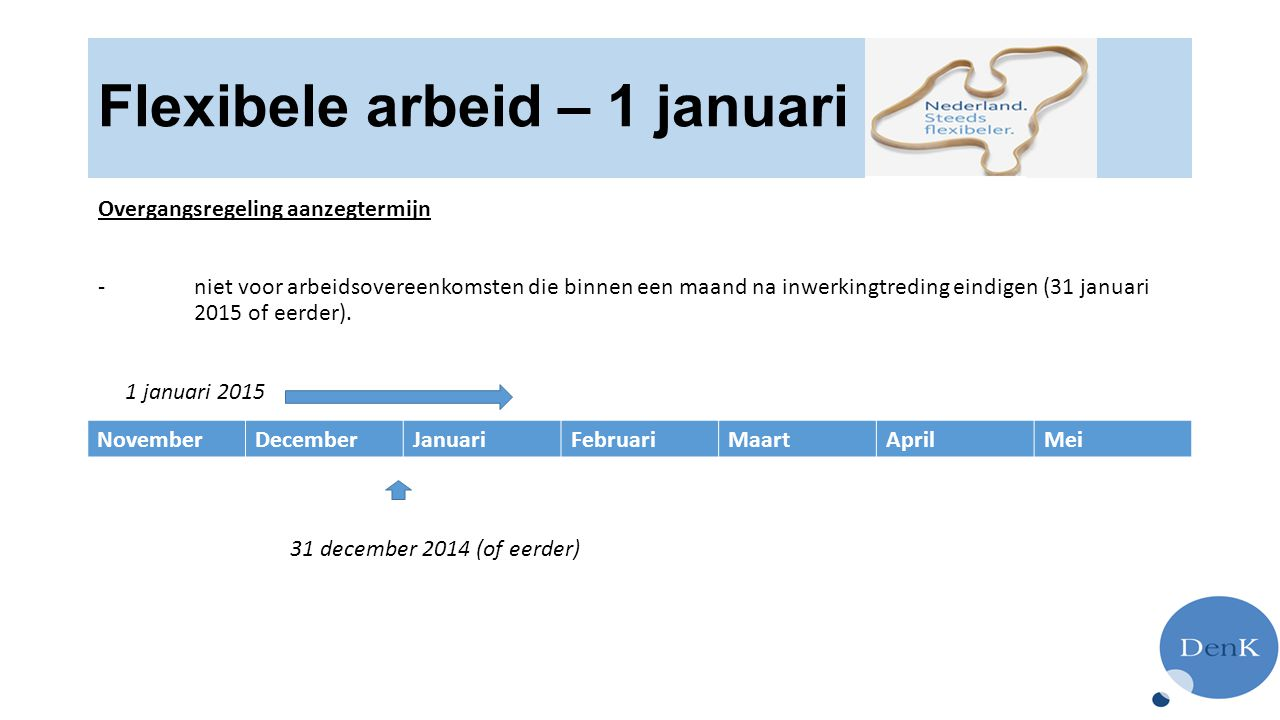 Flexibele arbeid – 1 januari 2015 Overgangsregeling aanzegtermijn - niet voor arbeidsovereenkomsten die binnen een maand na inwerkingtreding eindigen (31 januari 2015 of eerder).