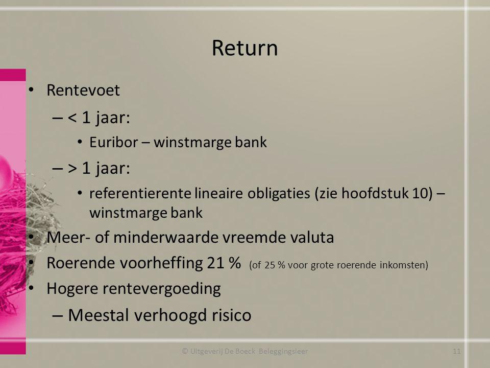 Return Rentevoet – < 1 jaar: Euribor – winstmarge bank – > 1 jaar: referentierente lineaire obligaties (zie hoofdstuk 10) – winstmarge bank Meer- of minderwaarde vreemde valuta Roerende voorheffing 21 % (of 25 % voor grote roerende inkomsten) Hogere rentevergoeding – Meestal verhoogd risico © Uitgeverij De Boeck Beleggingsleer11