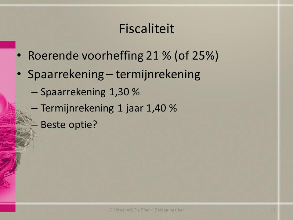 Fiscaliteit Roerende voorheffing 21 % (of 25%) Spaarrekening – termijnrekening – Spaarrekening 1,30 % – Termijnrekening 1 jaar 1,40 % – Beste optie.