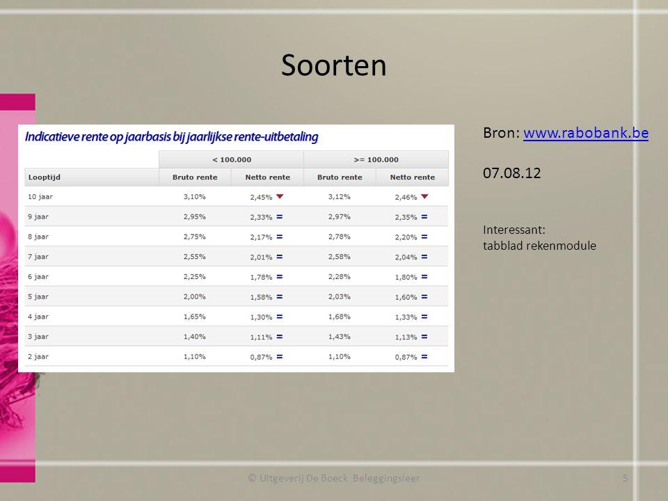Soorten © Uitgeverij De Boeck Beleggingsleer Bron: www.rabobank.bewww.rabobank.be 07.08.12 Interessant: tabblad rekenmodule 5