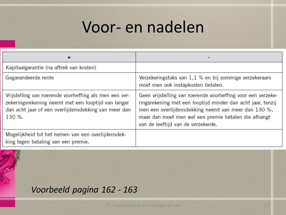 Voor- en nadelen © Uitgeverij De Boeck Beleggingsleer Voorbeeld pagina 162 - 163 15