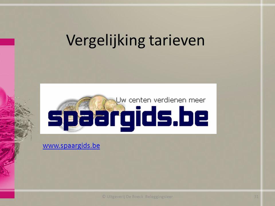 Vergelijking tarieven © Uitgeverij De Boeck Beleggingsleer www.spaargids.be 31