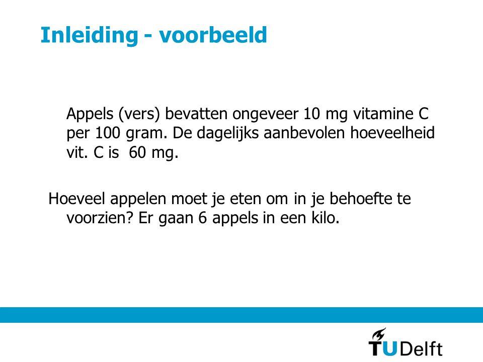 Inleiding - voorbeeld Appels (vers) bevatten ongeveer 10 mg vitamine C per 100 gram.
