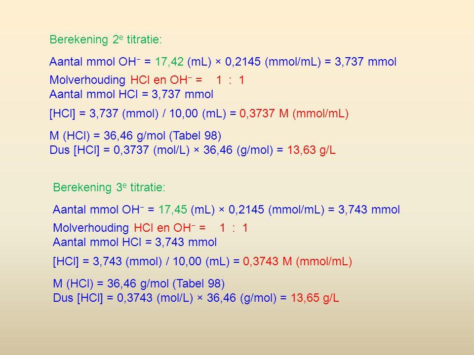 Berekening 2 e titratie: Aantal mmol OH − = 17,42 (mL) × 0,2145 (mmol/mL) = 3,737 mmol Molverhouding HCl en OH − = 1 : 1 Aantal mmol HCl = 3,737 mmol