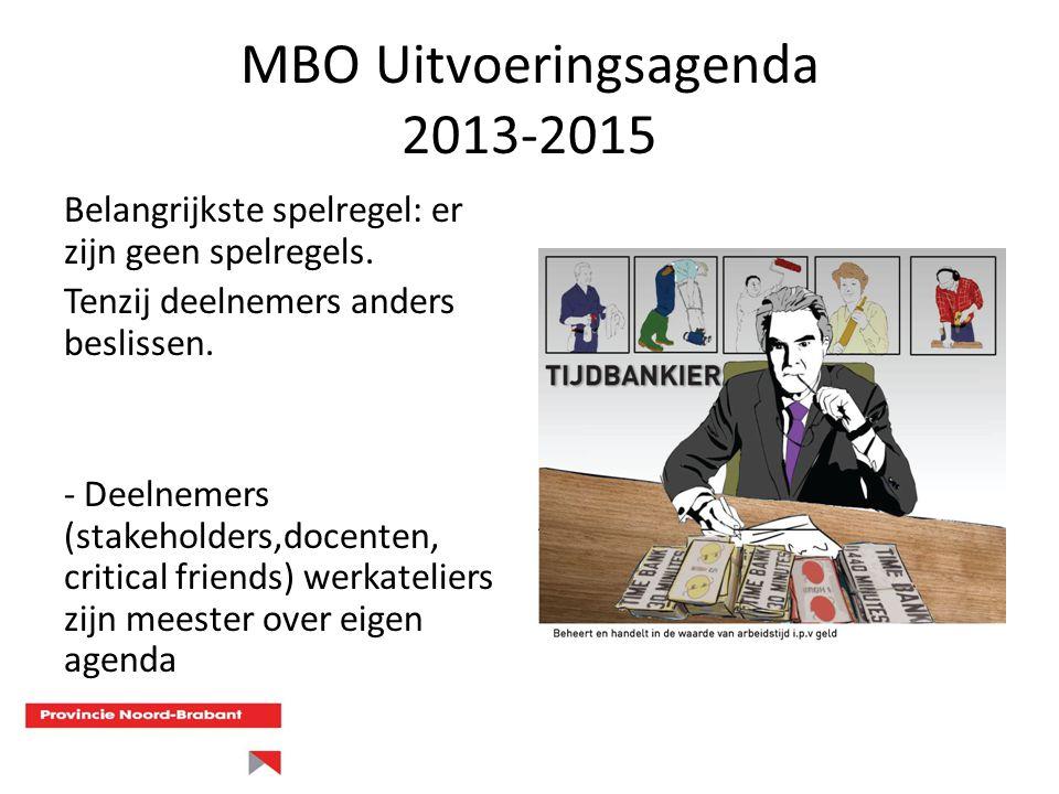 MBO Uitvoeringsagenda 2013-2015 Belangrijkste spelregel: er zijn geen spelregels. Tenzij deelnemers anders beslissen. - Deelnemers (stakeholders,docen