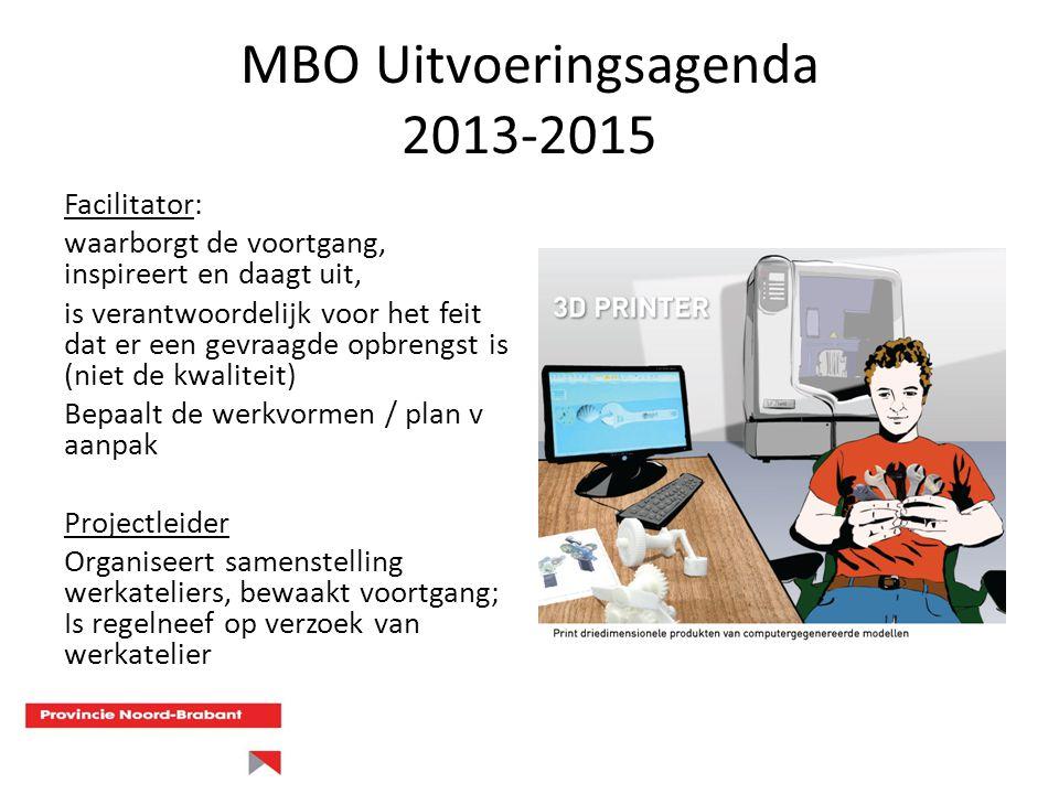 MBO Uitvoeringsagenda 2013-2015 Facilitator: waarborgt de voortgang, inspireert en daagt uit, is verantwoordelijk voor het feit dat er een gevraagde o