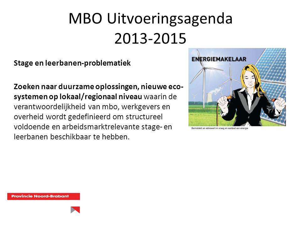MBO Uitvoeringsagenda 2013-2015 Stage en leerbanen-problematiek Zoeken naar duurzame oplossingen, nieuwe eco- systemen op lokaal/regionaal niveau waar