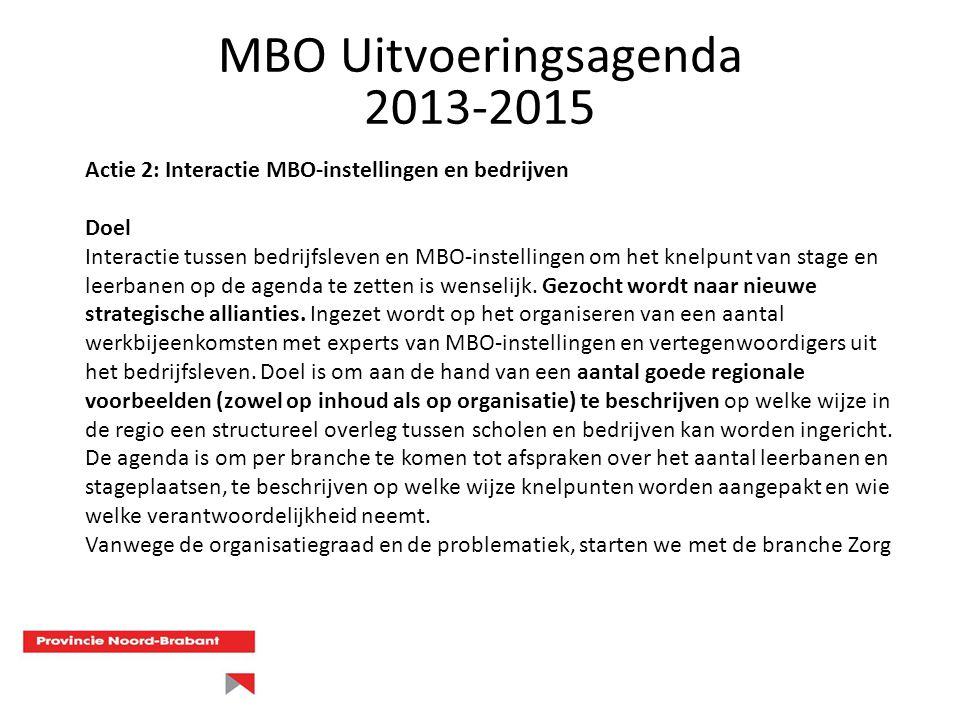 Actie 2: Interactie MBO-instellingen en bedrijven Doel Interactie tussen bedrijfsleven en MBO-instellingen om het knelpunt van stage en leerbanen op d
