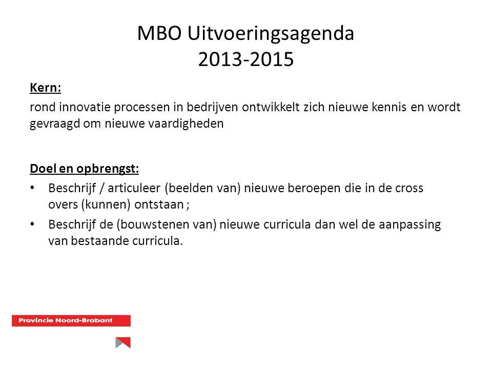 MBO Uitvoeringsagenda 2013-2015 Doel en opbrengst: Beschrijf / articuleer (beelden van) nieuwe beroepen die in de cross overs (kunnen) ontstaan ; Besc