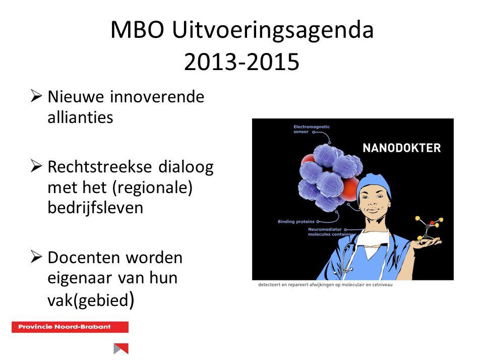 MBO Uitvoeringsagenda 2013-2015  Nieuwe innoverende allianties  Rechtstreekse dialoog met het (regionale) bedrijfsleven  Docenten worden eigenaar v