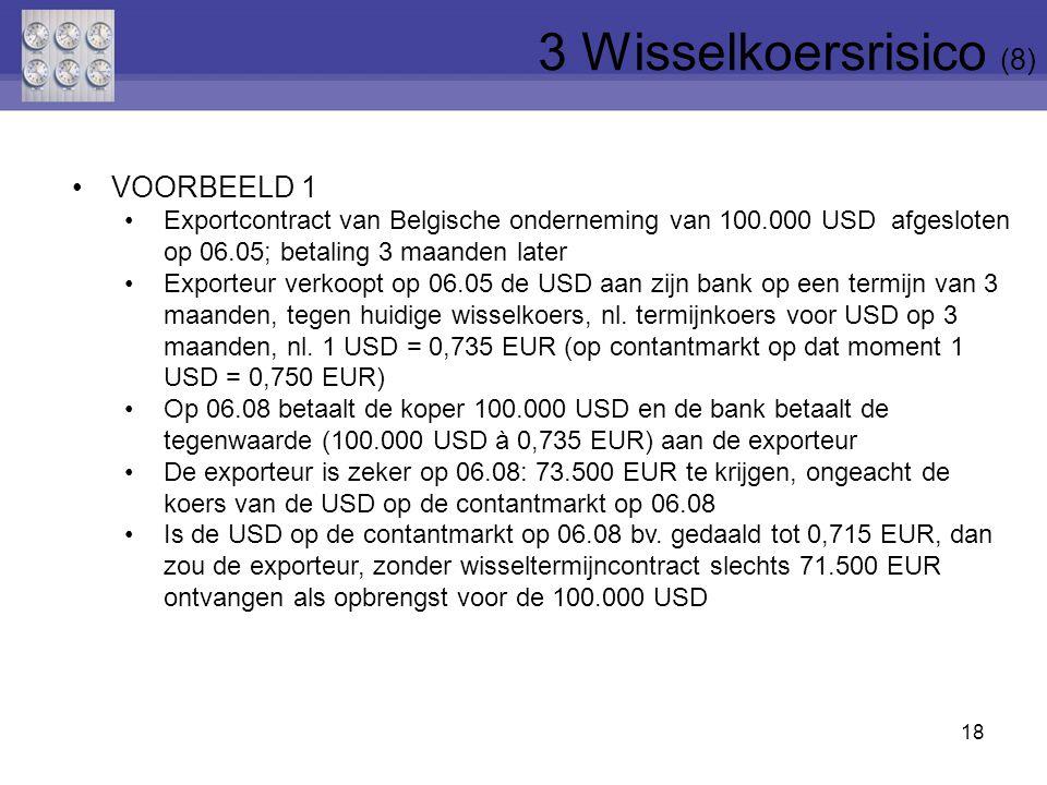 19 VOORBEELD 2 Importcontract van Belgische onderneming van 10.000 GBP afgesloten op 06.07; betaling 2 maanden later Importeur koopt op 06.07, 10.000 GBP bij zijn bank op een termijn van 2 maanden, tegen huidige wisselkoers, nl.