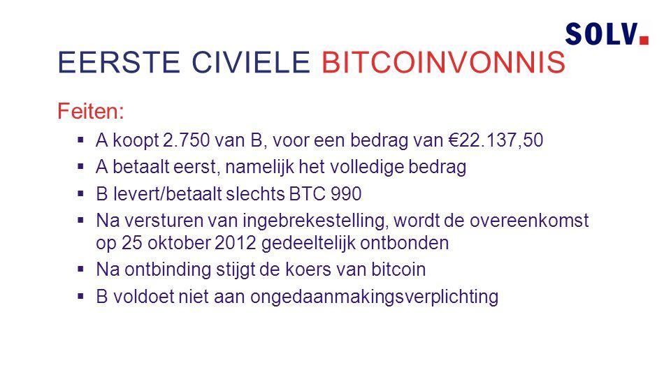 Feiten:  A koopt 2.750 van B, voor een bedrag van €22.137,50  A betaalt eerst, namelijk het volledige bedrag  B levert/betaalt slechts BTC 990  Na versturen van ingebrekestelling, wordt de overeenkomst op 25 oktober 2012 gedeeltelijk ontbonden  Na ontbinding stijgt de koers van bitcoin  B voldoet niet aan ongedaanmakingsverplichting EERSTE CIVIELE BITCOINVONNIS
