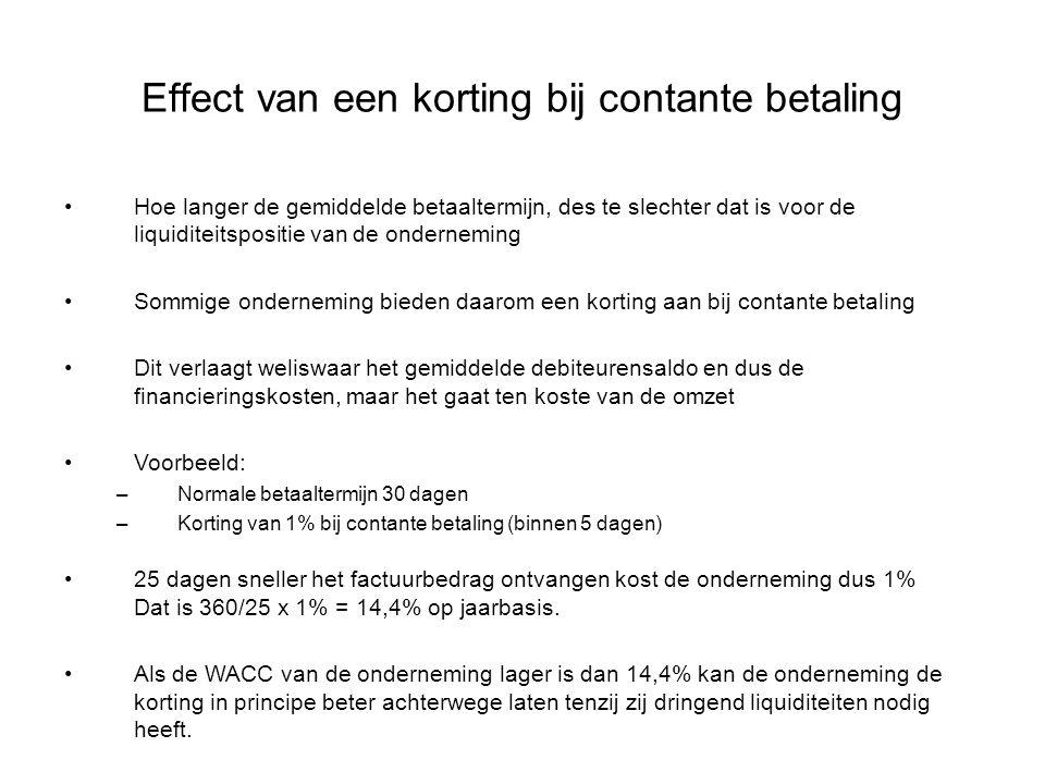 Effect van een korting bij contante betaling Hoe langer de gemiddelde betaaltermijn, des te slechter dat is voor de liquiditeitspositie van de onderne