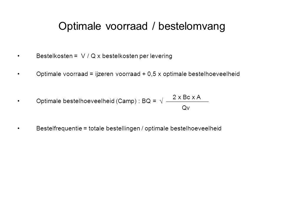 Optimale voorraad / bestelomvang Bestelkosten = V / Q x bestelkosten per levering Optimale voorraad = ijzeren voorraad + 0,5 x optimale bestelhoeveelh