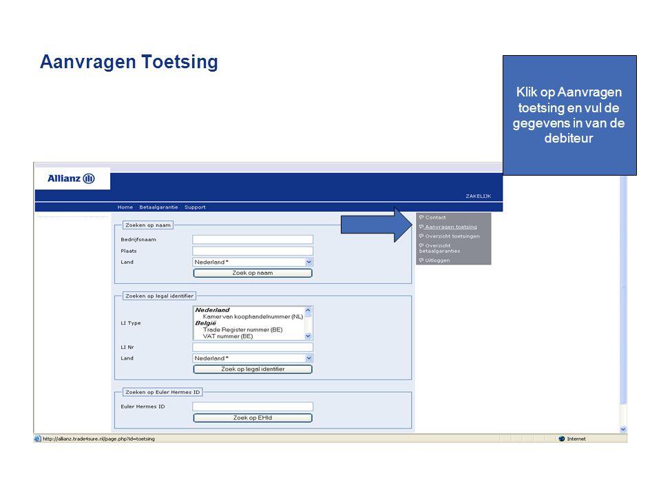 Aanvragen Toetsing Klik op Aanvragen toetsing en vul de gegevens in van de debiteur