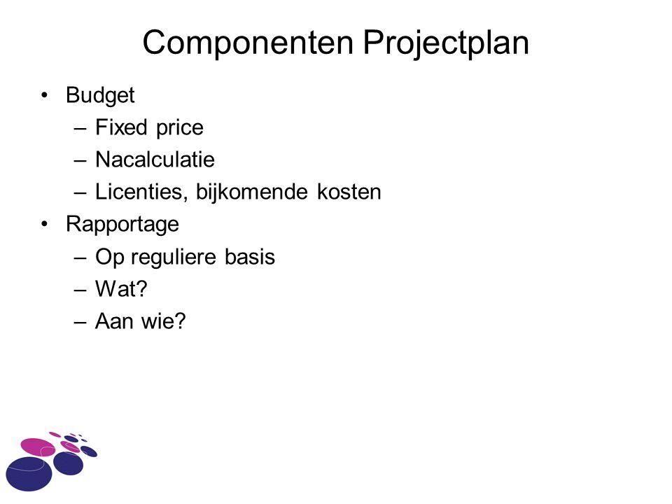 Componenten Projectplan Budget –Fixed price –Nacalculatie –Licenties, bijkomende kosten Rapportage –Op reguliere basis –Wat.