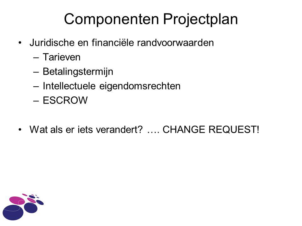 Componenten Projectplan Juridische en financiële randvoorwaarden –Tarieven –Betalingstermijn –Intellectuele eigendomsrechten –ESCROW Wat als er iets verandert.