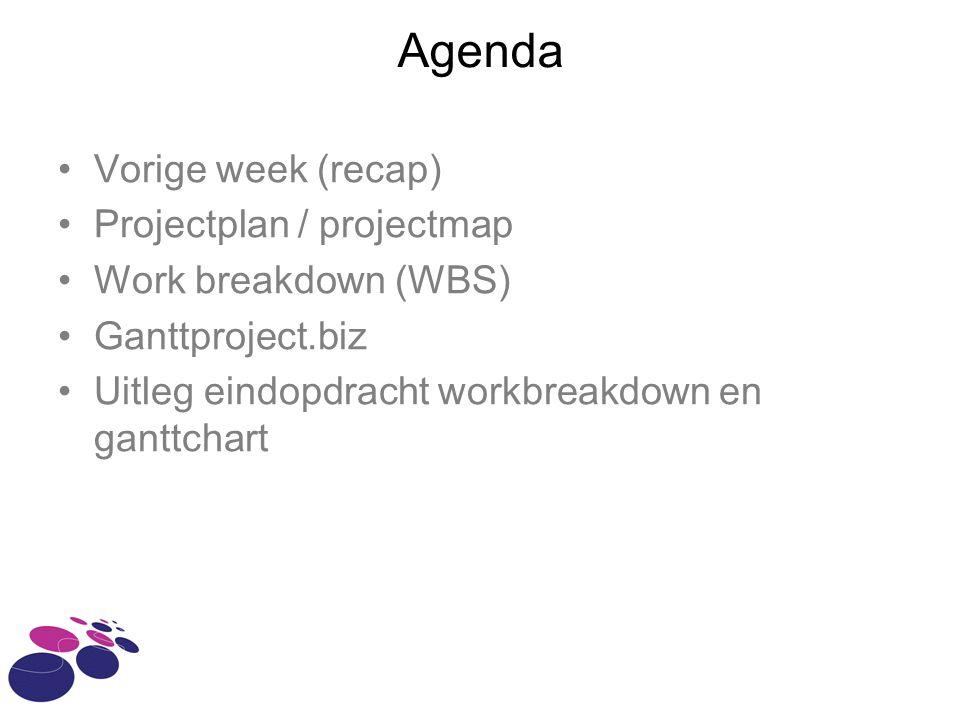 Agenda Vorige week (recap) Projectplan / projectmap Work breakdown (WBS) Ganttproject.biz Uitleg eindopdracht workbreakdown en ganttchart