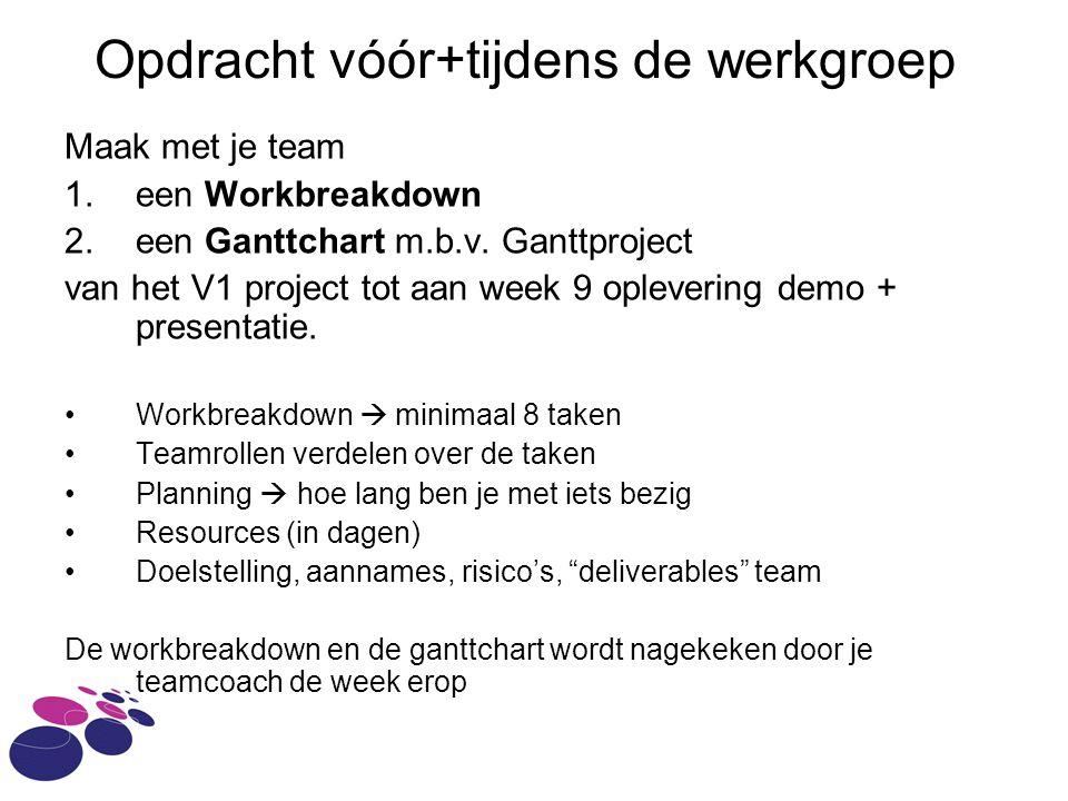 Opdracht vóór+tijdens de werkgroep Maak met je team 1.een Workbreakdown 2.een Ganttchart m.b.v.
