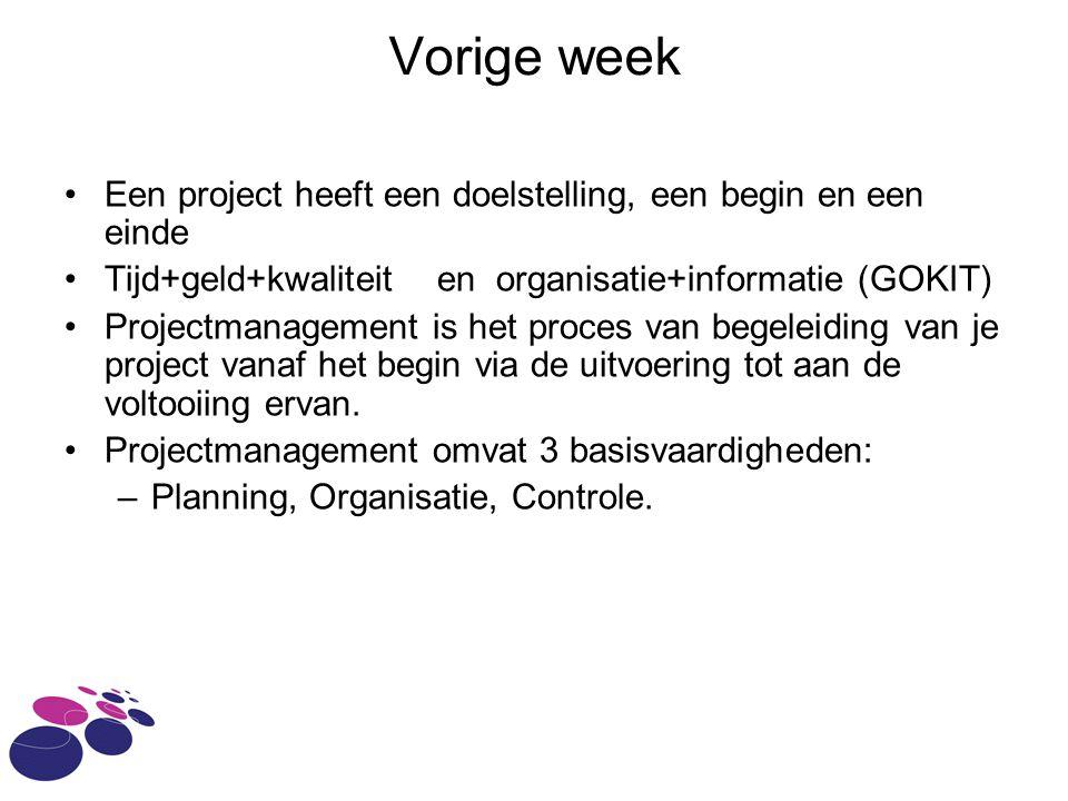 Vorige week Een project heeft een doelstelling, een begin en een einde Tijd+geld+kwaliteit en organisatie+informatie (GOKIT) Projectmanagement is het proces van begeleiding van je project vanaf het begin via de uitvoering tot aan de voltooiing ervan.