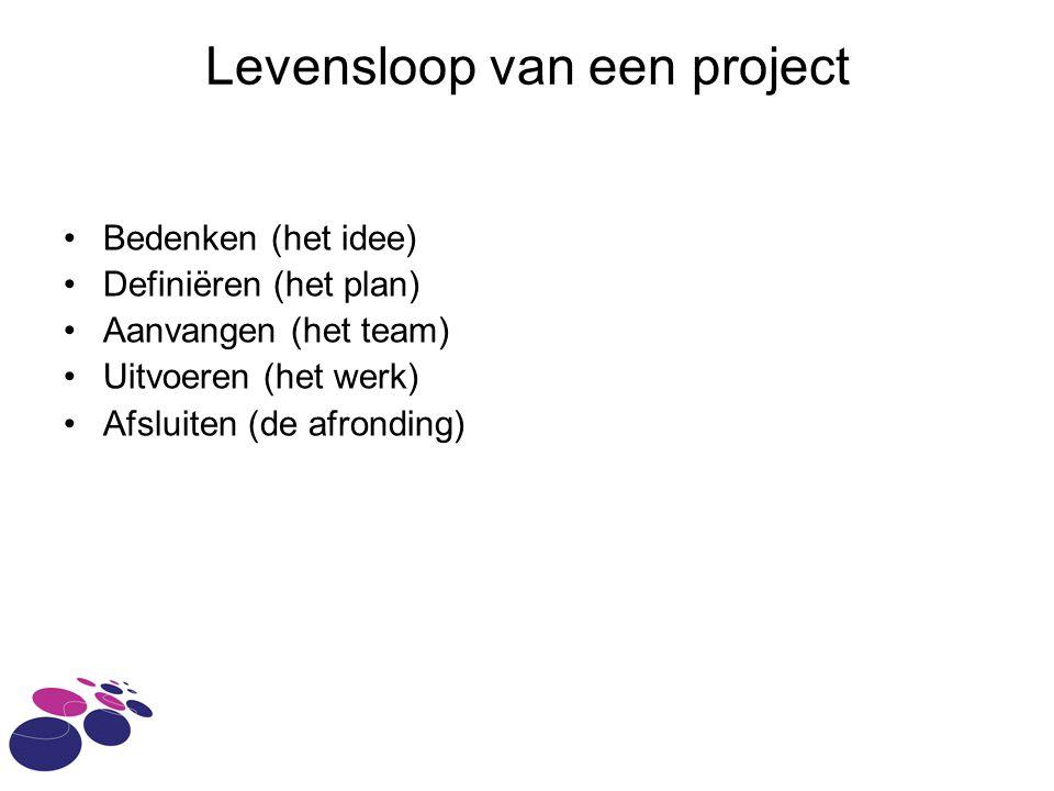 Levensloop van een project Bedenken (het idee) Definiëren (het plan) Aanvangen (het team) Uitvoeren (het werk) Afsluiten (de afronding)