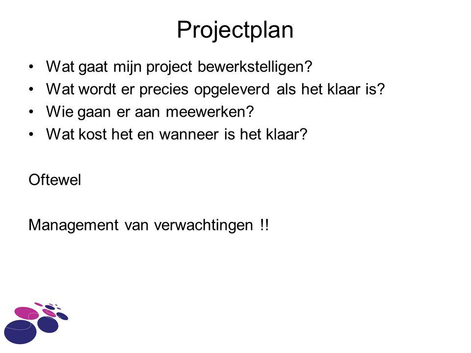 Projectplan Wat gaat mijn project bewerkstelligen.