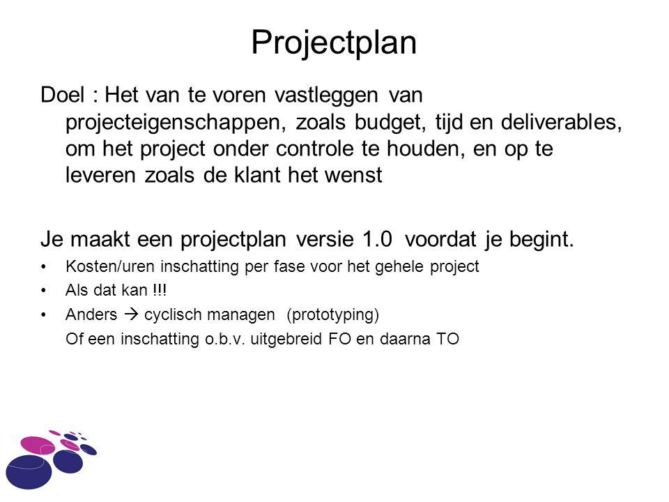 Projectplan Doel : Het van te voren vastleggen van projecteigenschappen, zoals budget, tijd en deliverables, om het project onder controle te houden, en op te leveren zoals de klant het wenst Je maakt een projectplan versie 1.0 voordat je begint.