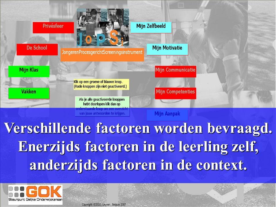 Verschillende factoren worden bevraagd. Enerzijds factoren in de leerling zelf, anderzijds factoren in de context.