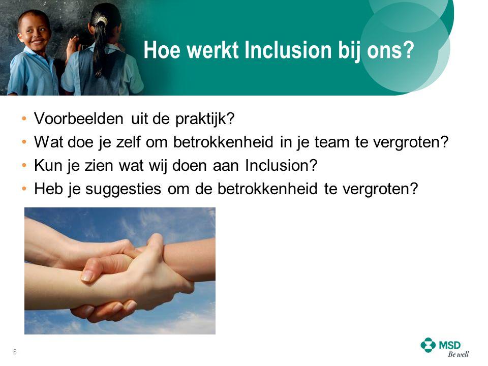 Hoe werkt Inclusion bij ons? Voorbeelden uit de praktijk? Wat doe je zelf om betrokkenheid in je team te vergroten? Kun je zien wat wij doen aan Inclu
