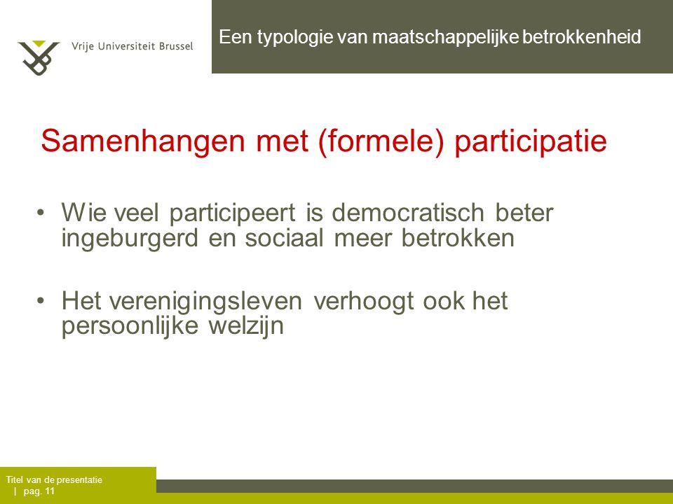 Titel van de presentatie | pag. 11 Een typologie van maatschappelijke betrokkenheid Wie veel participeert is democratisch beter ingeburgerd en sociaal
