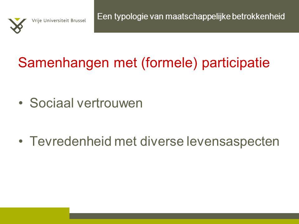 Sociaal vertrouwen Tevredenheid met diverse levensaspecten Samenhangen met (formele) participatie Een typologie van maatschappelijke betrokkenheid