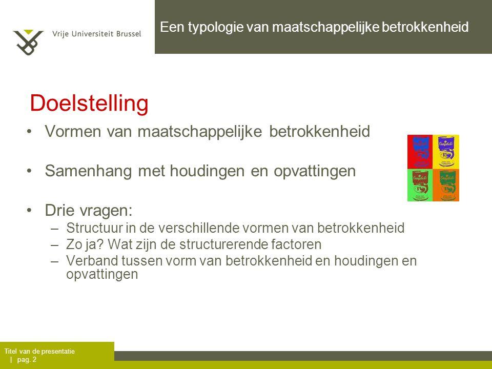 Titel van de presentatie | pag. 2 Een typologie van maatschappelijke betrokkenheid Vormen van maatschappelijke betrokkenheid Samenhang met houdingen e