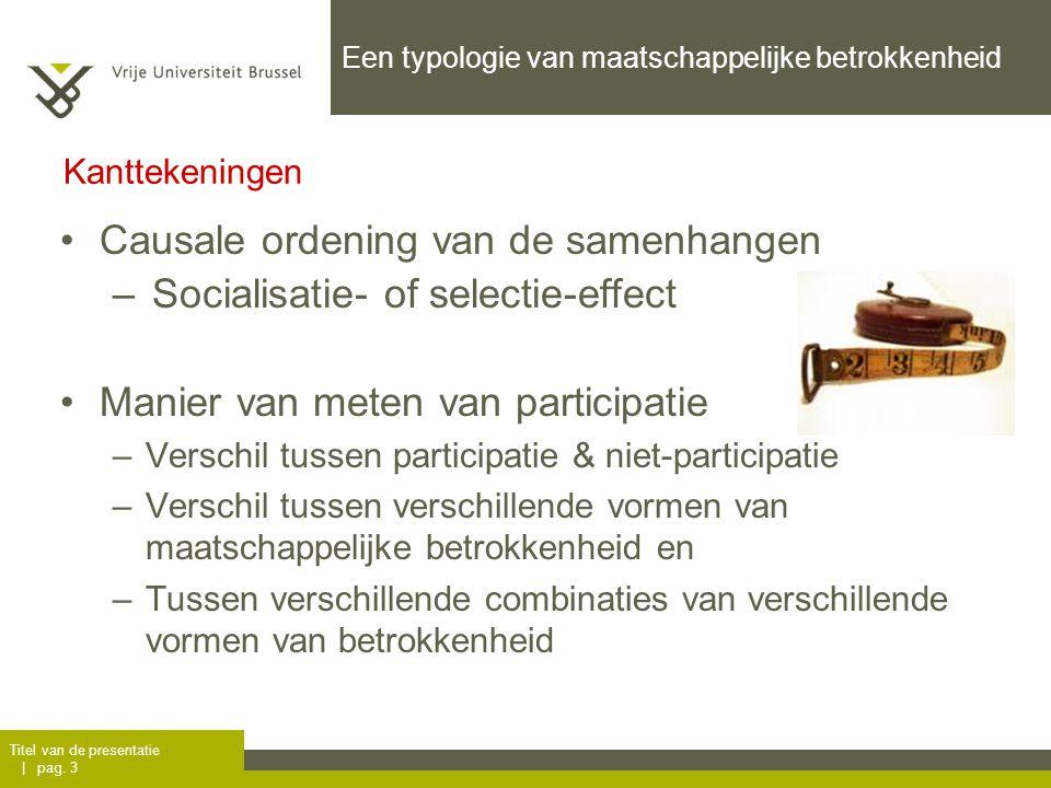 Titel van de presentatie | pag. 3 Kanttekeningen Een typologie van maatschappelijke betrokkenheid Causale ordening van de samenhangen –Socialisatie- o