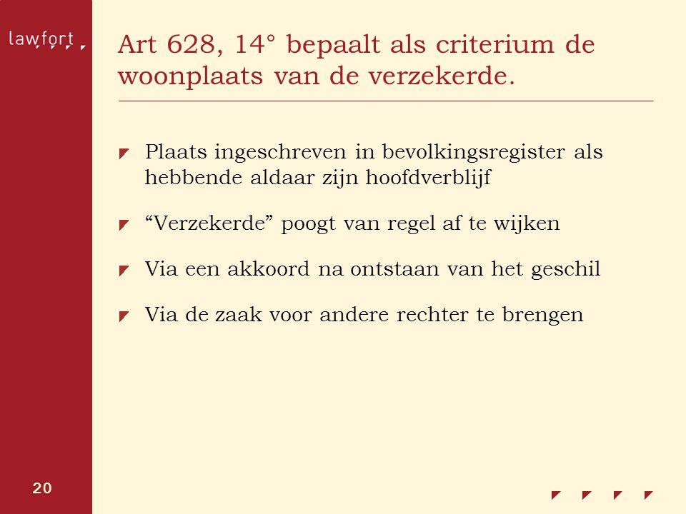 20 Art 628, 14° bepaalt als criterium de woonplaats van de verzekerde. Plaats ingeschreven in bevolkingsregister als hebbende aldaar zijn hoofdverblij