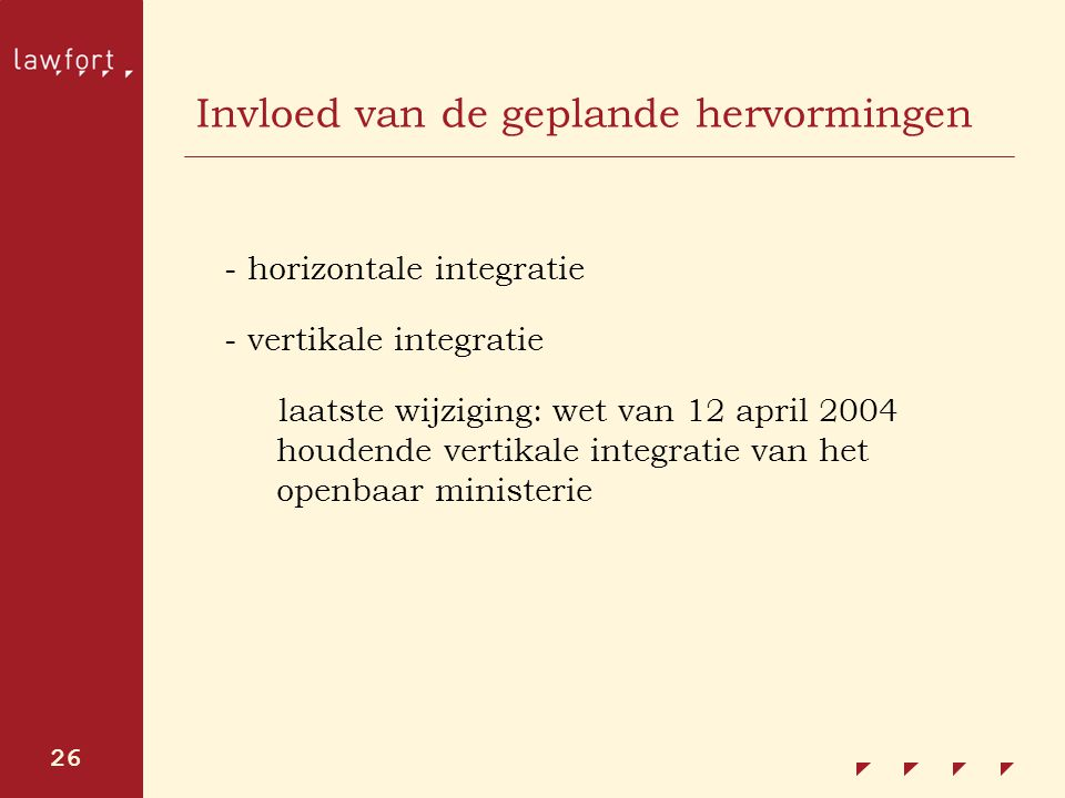 26 Invloed van de geplande hervormingen - horizontale integratie - vertikale integratie laatste wijziging: wet van 12 april 2004 houdende vertikale in