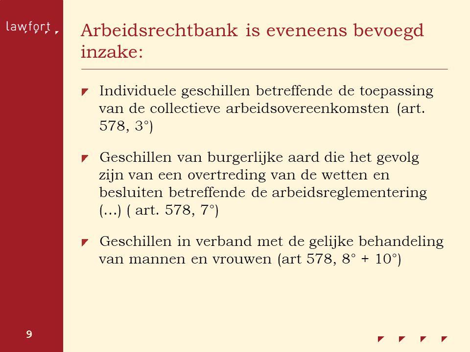 9 Arbeidsrechtbank is eveneens bevoegd inzake: Individuele geschillen betreffende de toepassing van de collectieve arbeidsovereenkomsten (art. 578, 3°