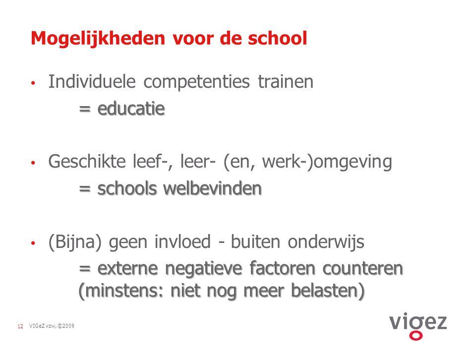 VIGeZ vzw, ©200912 Mogelijkheden voor de school Individuele competenties trainen = educatie Geschikte leef-, leer- (en, werk-)omgeving = schools welbe
