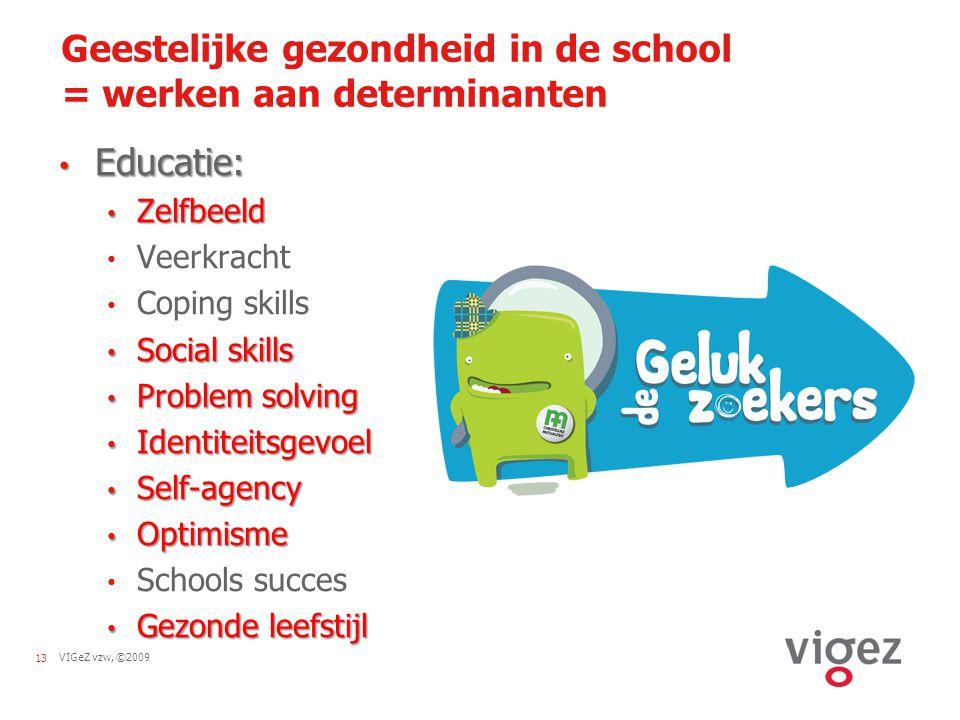 VIGeZ vzw, ©200913 Geestelijke gezondheid in de school = werken aan determinanten Educatie: Educatie: Zelfbeeld Zelfbeeld Veerkracht Coping skills Soc