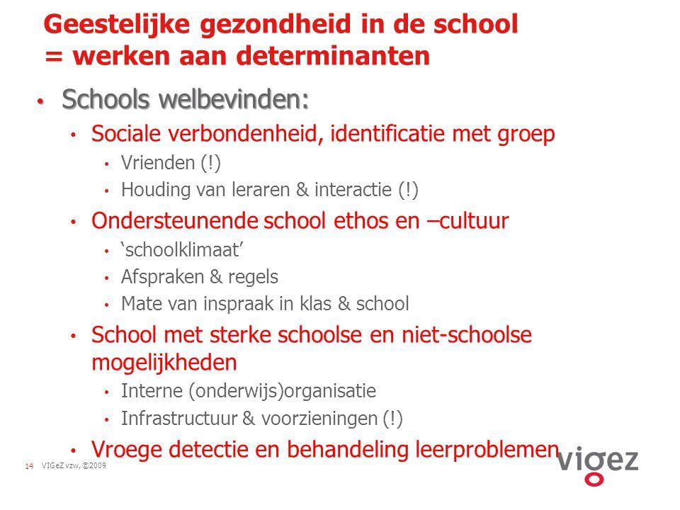 VIGeZ vzw, ©200914 Geestelijke gezondheid in de school = werken aan determinanten Schools welbevinden: Schools welbevinden: Sociale verbondenheid, ide