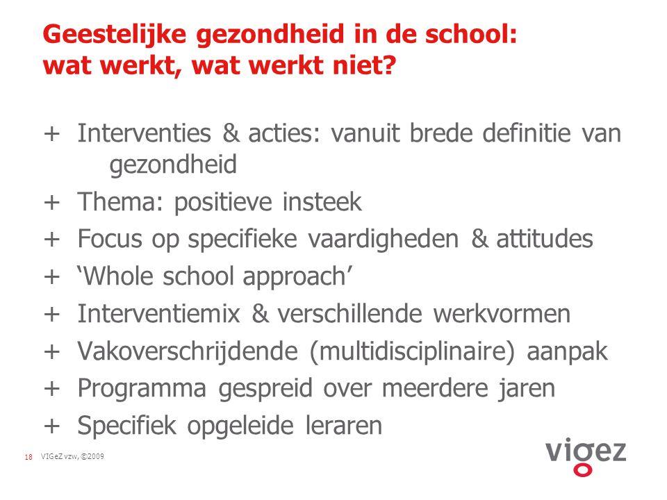 VIGeZ vzw, ©200918 Geestelijke gezondheid in de school: wat werkt, wat werkt niet? + Interventies & acties: vanuit brede definitie van gezondheid + Th