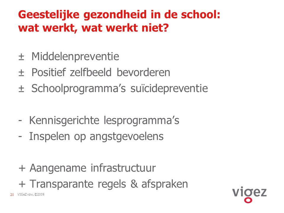 VIGeZ vzw, ©200920 Geestelijke gezondheid in de school: wat werkt, wat werkt niet? ± Middelenpreventie ± Positief zelfbeeld bevorderen ± Schoolprogram