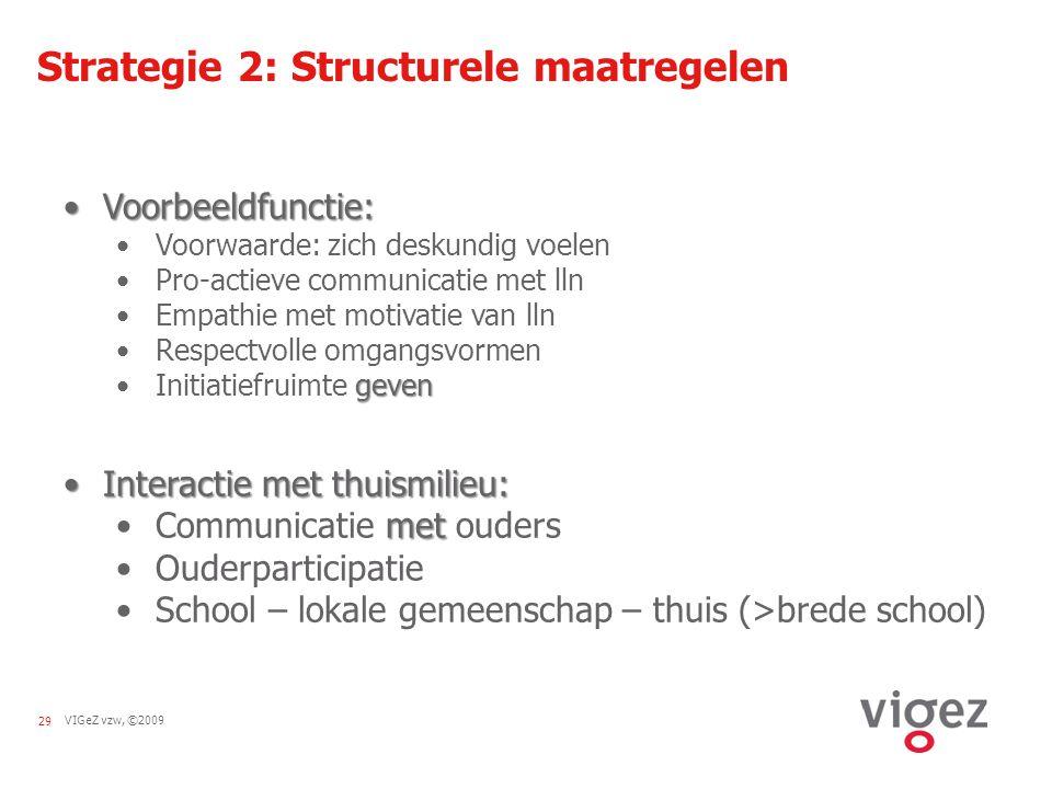 VIGeZ vzw, ©200929 Strategie 2: Structurele maatregelen Voorbeeldfunctie:Voorbeeldfunctie: Voorwaarde: zich deskundig voelen Pro-actieve communicatie